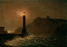 iamjapanese:  Joseph Wright of Derby(British, 1734-1797) A Lighthouse on Fire at Night During a Storm oil on canvas