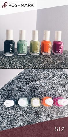 Essie Nail Polishes Four Essie Nail Polishes - From left to right: Power Clutch (NOT INCLUDED), Fashion Playground, Navigate Her, Fear or Desire, The Girls Are Out - Used - 📦 Next day shipping essie Other