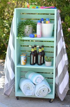 pool decor towel racks DIY: Pool Towel Rack and Storage Area Pool Towel Storage, Towel Rack Pool, Pool Towels, Storage Area, Bathroom Storage, Pool Float Storage, Backyard Storage, Storage Beds, Crate Storage