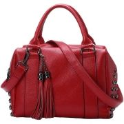Fashion Genuine Leather Tote With Rivets And Tassel NESL322