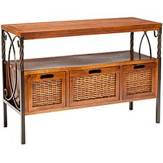 @Overstock - The Darwen Console table gets its good looks from the tasteful combination of wood, natural iron and wicker. Three sturdy wood framed drawers with wicker sides and a shelf make for great storage and display in this table.http://www.overstock.com/Home-Garden/Darwen-Antique-Pewter-Dark-Walnut-Finish-Console-Table/5571096/product.html?CID=214117 $183.59