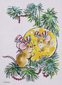 Мышка и елочный шарик - анимационные картинки и gif открытки
