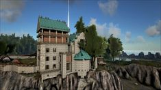 i.imgur.com/..., cliffside building in Ark Survival Evolved, ideas for building in high places, crafting design ideas. PS4