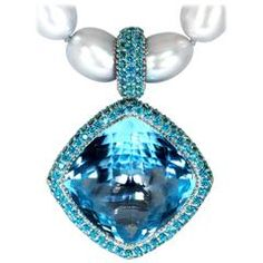 Pearl, Blue & Paraiba Topaz Gold Textured Royal Necklace by Alex Soldier 12