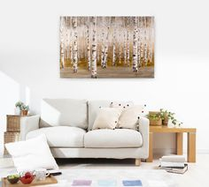 Acryl Gemälde 'Morgentau im Birkenwald' 150x100cm