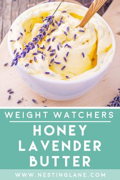 Weight Watchers Honey Lavender Butter Recipe with Freezing Instructions. A super easy recipe that will take your butter up a notch. The light flavor is summery and refreshing. Made with salted butter, fresh or dried lavender, and honey. This is a beautiful recipe that is the perfect addition to your brunch, breakfast, or tea time. Serve to your guests and they will be delighted. Freeze to always have some on hand. MyWW Points: 5 Green Plan, 5 Smart Points. Weight Watchers Vegetarian, Vegetarian Paleo, Weight Watchers Meals, Brunch Recipes, New Recipes, Healthy Recipes, Cake Decorating Piping, Butter Recipe, Salted Butter