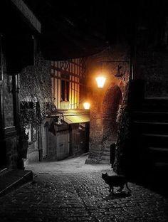 Dark Night, Mont Saint Michel, France - The Best Travel Photos Mont Saint Michel France, Le Mont St Michel, Places To Travel, Places To See, Alley Cat, France Photos, Photos Voyages, Dark Night, Travel Photos