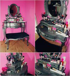 would match my room perfectly I need this makeup table. My New Room, My Room, Painted Furniture, Diy Furniture, Makeup Furniture, Rococo Furniture, Rangement Makeup, Decoration Inspiration, Makeup Storage