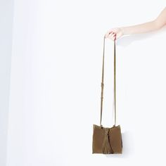 ZARA - TRF - LEATHER MESSENGER BAG WITH FRINGES