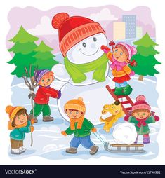 Buy Illustration of Little Children Playing by vectorpocket on GraphicRiver. Vector winter illustration of small children mold snowmen Winter Illustration, Christmas Illustration, Letters For Kids, Little Children, Graphics Fairy, Bear Art, Winter Wonder, Kids Playing, Art For Kids