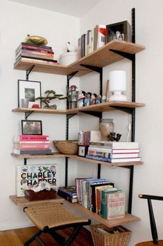 Corner Shelf Design, Corner Storage, Bookshelf Design, Corner Bookshelves, Bookcase, Apartment Therapy, Mobile Home Makeovers, Salvaged Doors, Small Space Solutions
