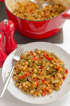 Deliciously tasty vegetarian stew where the chickpeas add protein to my variation of the traditional and classic French Provencal stewed vegetable ratatouille dish.