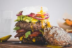 Healthy Beef recipe   Mindful burger, poached egg & parsnip fries