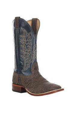 Cavender's Men's Distressed Chocolate & Blue Western Wide Square Toe Boot | Cavender's
