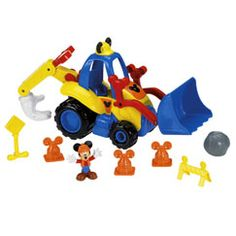 Get ready for some real work with Mickey Mouse's new construction vehicle, Mickey's Mouska-Dozer. This great vehicle has lots of fun action. Move the front loader up and down to hear construction sounds and Mickey phrases. The dozer really rolls and