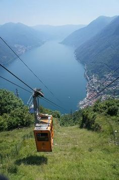 Beautiful views taking cable car on Lake Como, Italy to top