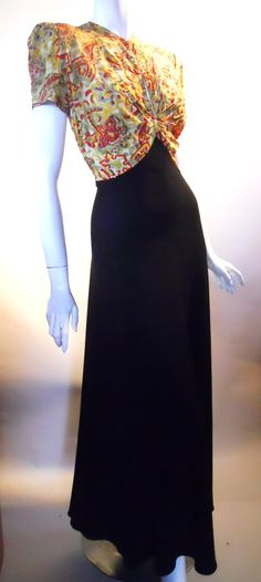 1940s sequin bodice evening gown, DCV archives
