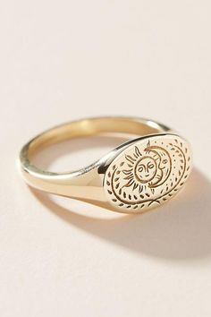 Claus Eclipse Signet Ring by in Gold Size: Jewelry at Anthropologie – Handcrafted Jewelry Cute Jewelry, Jewelry Rings, Jewelry Accessories, Fashion Accessories, Jewlery, Fashion Jewelry, Gold Jewelry, Bling Bling, Delicate Rings