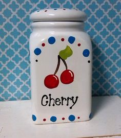 Hey, I found this really awesome Etsy listing at https://www.etsy.com/listing/217735497/hand-painted-cherry-kitchen-canister