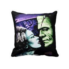 Bride & Frankie throw pillow - a cool and orginal gothic wedding gift! $59.95