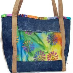 Bright Colorful Tote Bag Stonewashed Denim Batik Flowers Beach Bag | kathisewnsew - Bags & Purses on ArtFire