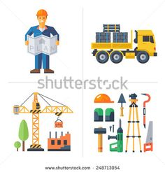 Construction: worker holding a plan, crane building a house, truck and tools. Vector flat illustrations