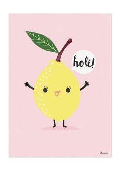 """Zitrone aus der Serie """"Holi Früchte"""" der spanischen Grafikdesignerin Charuca Vargas  Print in Größe A4 (29,7 x 21cm) auf einem stabilem 300g Papier"""