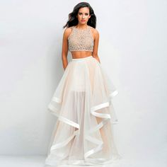 dress up ballet shoes on sale at reasonable prices, buy Vestidos De Formatura Two Piece Prom Dresses 2015 New Beaded Organza 2 Piece Prom Dress Vestidos De Noche Formal Evening Gowns from mobile site on Aliexpress Now! Pretty Dresses, Sexy Dresses, Beautiful Dresses, Formal Dresses, Terani Dresses, Long Dresses, Reception Dresses, Wedding Dresses, Formal Prom