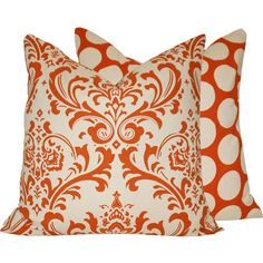 "Decorative Orange Pillow Cover 20""x20"" Square Damask and Polka Dots, Orange Creamsicle Collection by ChloeandOliveDotCom"
