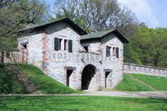 Roman fort Saalburg - west gate - inside view. The Saalburg is a Cohort Fort belonging to the Limes Germanicus. It is located on the Taunus ridge northwest of Bad Homburg in Hessen, Germany.