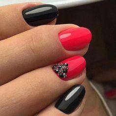 This classy mani uses black nail polish, a pop of color and embellishments Nail Design, Nail Art, Nail Salon, Irvine, Newport Beach by lesley