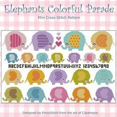 Elephants Colorful Parade Cross Stitch PDF chart by PinoyStitch, $7.50