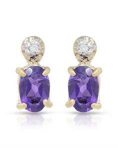 HELIO JEWELRY -  Brand New Earrings with 0.85ctw Genuine Amethysts and  Diamonds  18K & 925 Gold plated Silver - Length 9.5mm - Certificate Available. | Bidz.com Jewelry Auctions
