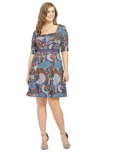 Midnight Forest Fit & Flare Dress by Isabel + Alice Available in sizes L-XL and 1X-5X