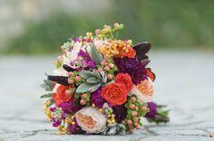 paars oranje bruidsboeket