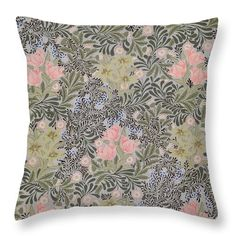 """Wallpaper Design With Tulips Daisies And Honeysuckle  Throw Pillow (14"""" x 14"""") by William Morris.  Our throw pillows are made from 100% cotton fabric and add a stylish statement to any room.  Pillows are available in sizes from 14"""" x 14"""" up to 26"""" x 26"""".  Each pillow is printed on both sides (same image) and includes a concealed zipper for easy cleaning. Also carry shower curtain and duvet cover in same print."""