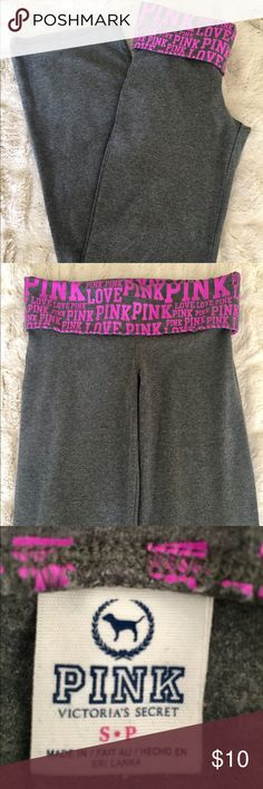 PINK Victoria's Secret Pants PINK VS gray pants with 'LOVE PINK' in pink lettering on band. In good condition. PINK Victoria's Secret Pants