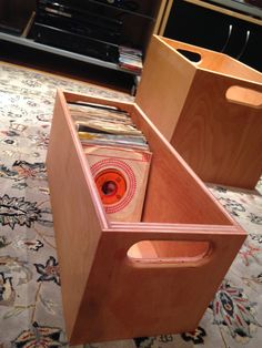 45 RPM - Vinyl Record Storage and Display Crate - Natural, Light Cherry or Walnut Finish by MileLongRecords on Etsy https://www.etsy.com/listing/254805909/45-rpm-vinyl-record-storage-and-display
