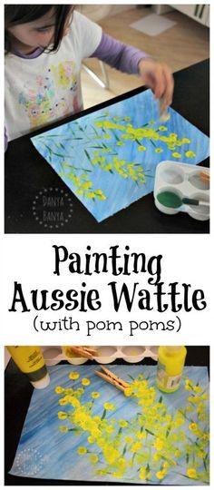 Painting Aussie Wattle (with pom poms). Fun kids activity for Australia Day, or just to learn about our native Australian flora Painting Aussie Wattle (with pom poms). Fun kids activity for Australia Day, or just to learn about our native Australian flora Fun Activities For Kids, Art Activities, Naidoc Week Activities, Kids Fun, Multicultural Activities, Childcare Activities, Kids Activities Melbourne, Projects For Kids, Crafts For Kids