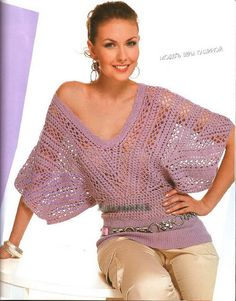 Lavender Bat Sleeve Top free crochet graph pattern