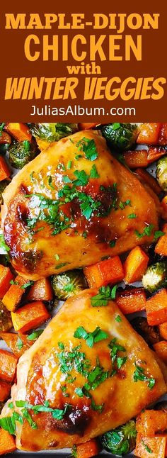 Thanksgiving sheet pan dinner: One-Pan Maple-Dijon Chicken Thighs with Roasted Butternut Squash and Brussels Sprouts - a perfect Autumn/Winter dinner! Gluten free recipe.