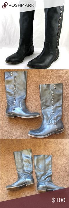 Nine West Black Fiddle Riding Boots American Vintage Collection by Nine West. Studded detail on outside of each boot. Easy to pull on, no zippers or buckles. Vintage/rustic look (note pictures). Worn a handful of times. Size 9 fits true to size. Nine West Shoes Winter & Rain Boots