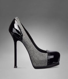 SWOON!!!   YSL Trib Too High Heel Pump in Black and White Prince of Wales