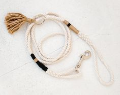 Black & Gold Cotton Rope Dog Leash The Great Gatsby style for puppies!