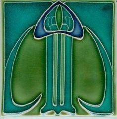 Art Tile, Art Nouveau Design, Dark Blue, Dark Green, and Dark Turquoise
