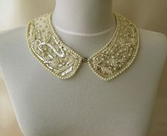 Pearl Embroidery Peter Pan Collar Necklace-Vintage Style Hand Embroidered-18th century-TURKISH vintage embroidered art