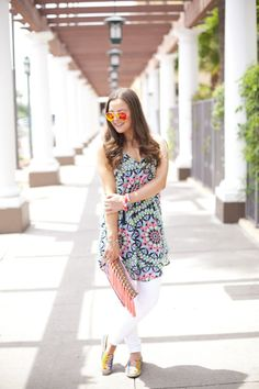 Fashion-Style-Summer-Target-Rayban-Bright-Colors-Dress-Jeans-Outfit Ideas-Outfit Inspiration