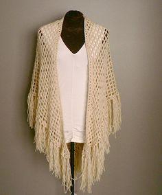 Ivory Bohemian Crochet Shawl. $54.99, via Etsy. // oh lawddddd give me