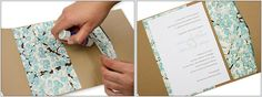 Glue chiyogami layers and invitation card into pocket fold (line the pocket)