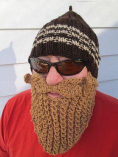 Beard hat Beard Beanie Wild Man Bearded Hat Knitted Beard Hat, Secret Santa,Christmas gift,Hollydays gift Adult Size. $35.00, via Etsy.